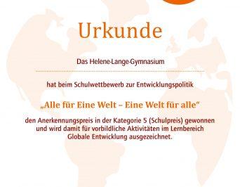 Anerkennungspreis für den UNESCO-Bereich am HLG